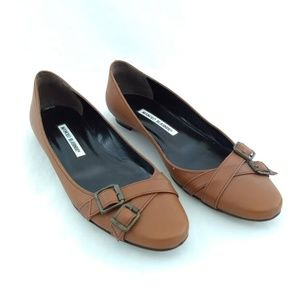 Manolo Blahnik 36.5 Ballet Flats Brown Leather